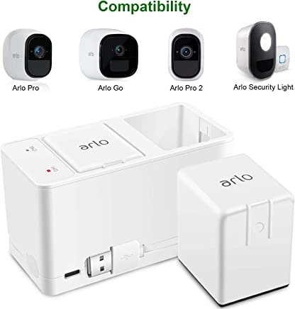 Charger Station for Arlo Rechargeable Battery, Dual Batteries Charging Station for NETGEAR Arlo Pro&Arlo Pro 2(VMA4400), Arlo Go(VMA4410) and Arlo Lights by Type C Port and USB Cable -UL Certified