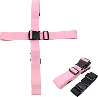 Kalevel 2 Pack Luggage Suitcase Safety Strap with Add A Bag Straps for Suitcases Set - Cross Luggage Straps Tsa Approved Belt with Built-in Luggage Tags Slot (Pink)