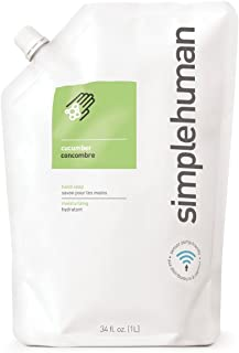 simplehuman Cucumber Moisturizing Liquid Hand Soap Refill Pouch, 34 Fl Oz (Pack of 1), Count