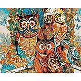 Zhxx Pintar Por Numeros Adultos Sabiduría Búhos Animal Diy Moderno Arte De La Pared Digital Lienzo Pintura Regalo De Navidad Decoración Para El Hogar 40X50Cm Sin Marco