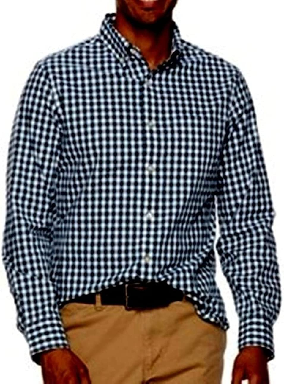Sonoma Mens Classic Fit Button Down Casual Shirt Navy Grey Gingham Long Sleeve