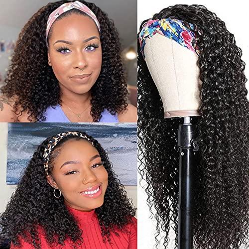 Afro Kinky Curly Headband Wigs for Black Women 18inch,Aomllute Brazilian Virgin Kinky Curly Headband Wig Glueless Human Hair Wigs Headband Wigs 150% Density