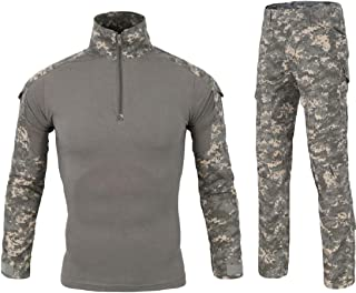Men's Tactical Shirt and Combat Pants Set Long Sleeve 1/4 Zip T-Shirt Trousers 2 Piece