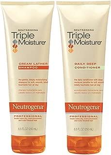 Neutrogena Triple Moisture Cream Lather Shampoo and Daily Deep Conditioner, 8.5 fl oz (Set of 2)