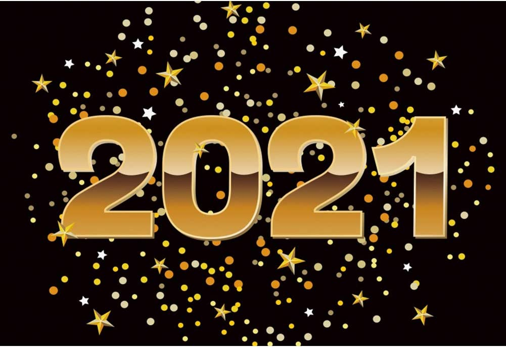 DaShan 14x10ft 2021 Happy New Year Backdrop Xmas 2021 New Year Eve Party 2021 Grad Graduation Photography Background Family Winter Party Golden Glitter Stars Christmas YouTube Photo Props