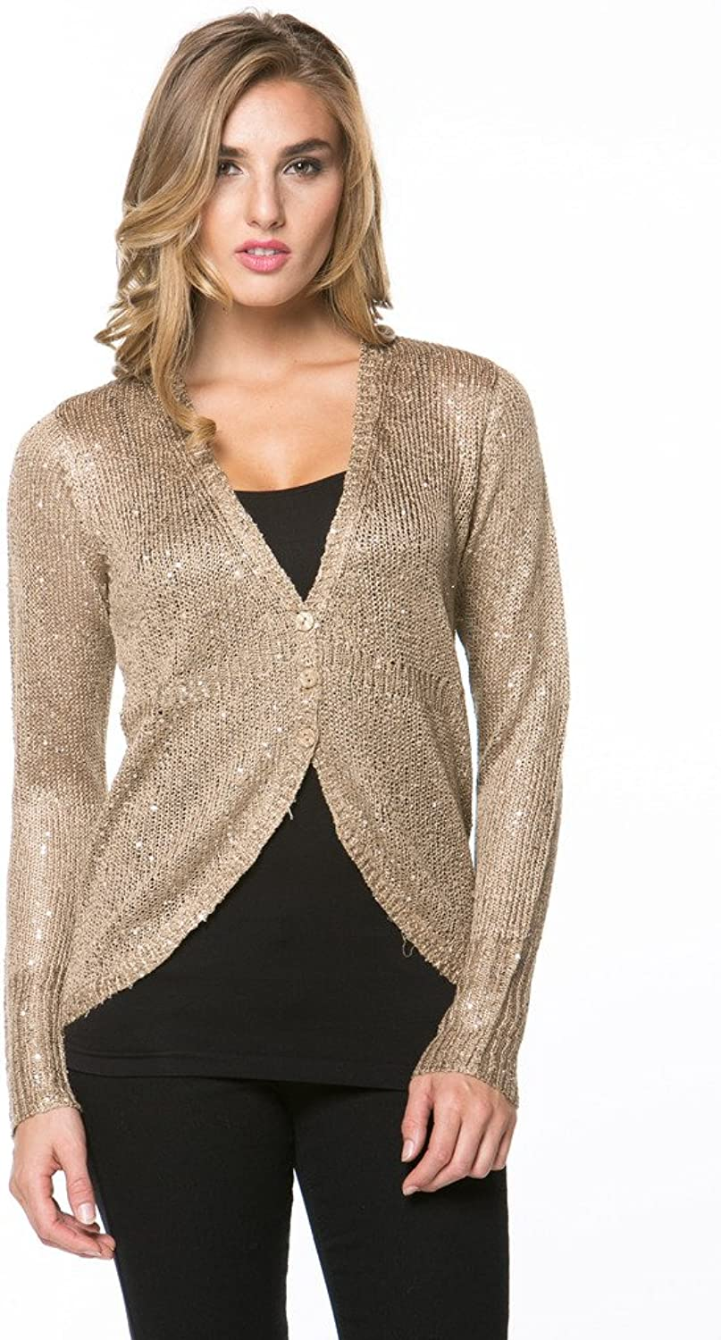 High Secret Women's Embellished Button Down Cardigan Sweater Jacket