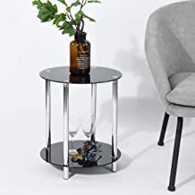 FurnitureR End Table Coffee Size Table with Metal Structure for Home Office Living Room-Round