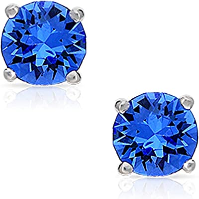 BLING BIJOUX Sterling Silver Rhodium-Plated Hypoallergenic round Shape with blue Cubic Zirconia earrings for Women