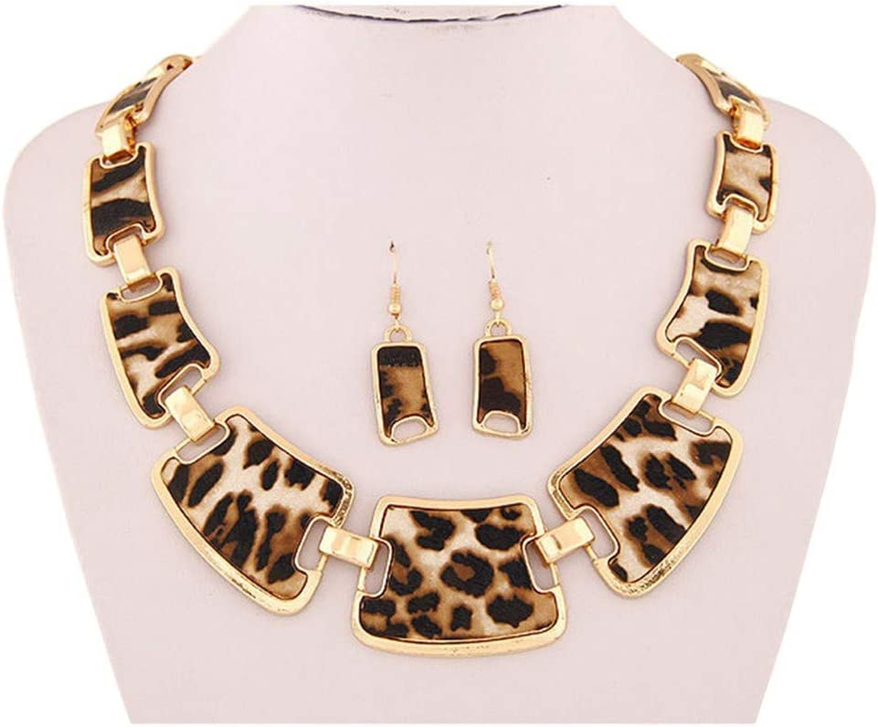 Wenini Leopard Necklace Pendant with Earrings Fashion Gold Tone Style Leopard Grain Necklace Collar Bib for Women (Brown)
