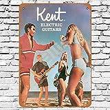 Ellis 1967 Kent Guitares électriques Vintage rétro en étain Plaque Murale Décoration pour Magasin Man Cave Bar Maison Garage