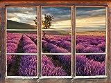 Stil.Zeit Möbel Traumhafte Lavendel Provence mit einsamen Baum Fenster 3D-Wandsticker Format: 62x42cm Wanddekoration 3D-Wandaufkleber Wandtattoo