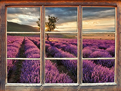 Stil.Zeit Möbel Traumhafte Lavendel Provence mit einsamen Baum Fenster 3D-Wandsticker Format: 92x62cm Wanddekoration 3D-Wandaufkleber Wandtattoo