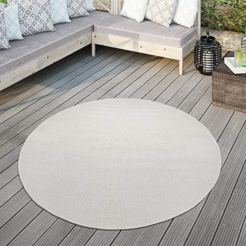 TT Home Alfombra para Exterior Alfombra Cocina Balcón Terraza Diseño Monocolor Moderna, Color:Marfil, Tamaño:Ø 120 cm Redondo