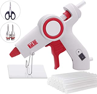 Hot Glue Gun Kit, KeLDE UL Certified Full Size Glue Gun, with 2-Piece Extra Changeable Fine Tip Nozzles, On/Off Switch and LED Indicator, Includes 20pcs 4x0.44-inch Glue Sticks, 60 Watts