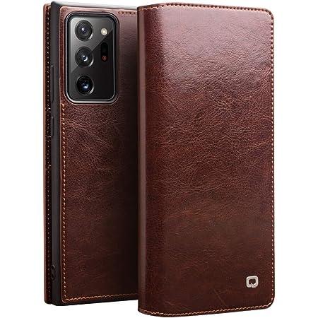 【DINGXIN 厳選品】 Samsung Galaxy Note20 Ultra ケース 手帳型 最高級 本革(牛革) 100%手作り ベルト/マグネット フラップ なし [ ギャラクシーノート20 ウルトラ docomo SC-53A au SCG06 対応 ] レザー 手帳 カバー カード 収納 付 スマホケース Qi対応 (Galaxy Note20 Ultra, ブラウン)
