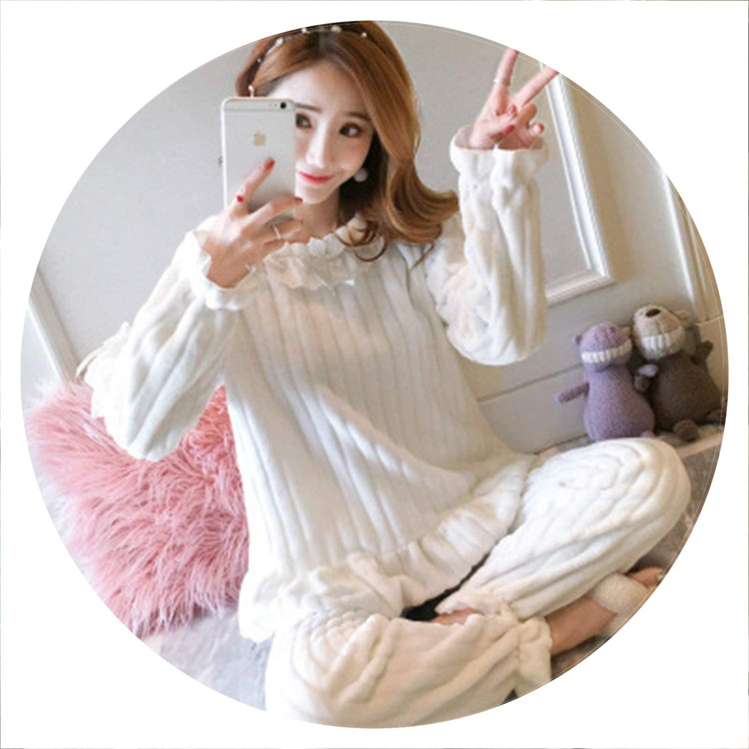 100Expectations Winter Elegance Lace Pajamas Set Flannel Full Trousers Two Piece Pajama Set Print Home Clothing