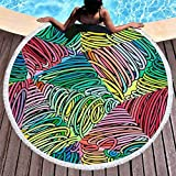 BCDJYFL Impresas Toalla De Playa Líneas De Colores Toallas De Playa Microfibra Toallas De Yoga para Exteriores Suaves Y Absorbentes.-Diámetro: 150Cm