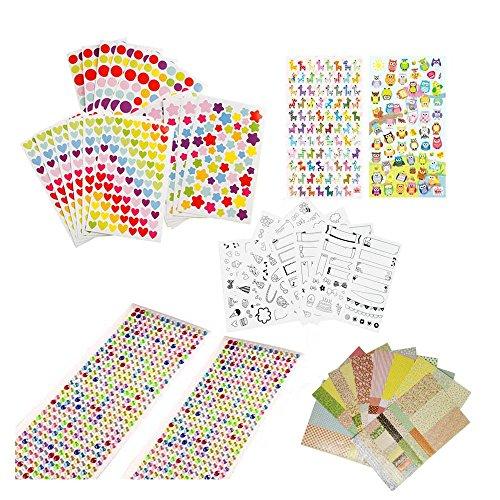 Super44day Fuentes de Scrapbooking Etiqueta adhesiva del kit del sistema decorativas álbum de recortes para niños Craft Kids Crear Arte Deco de la etiqueta engomada de papel de scrapbooking la etiqueta engomada del sello