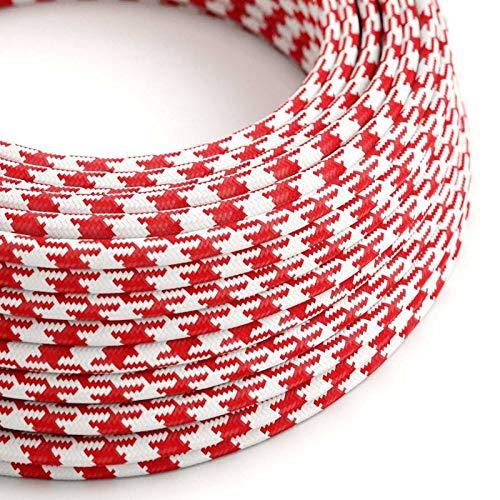 creative cables Fil Électrique Rond Gaine De Tissu De Couleur Effet Soie Bicolore Rouge RP09-10 mètres, 3x0.75