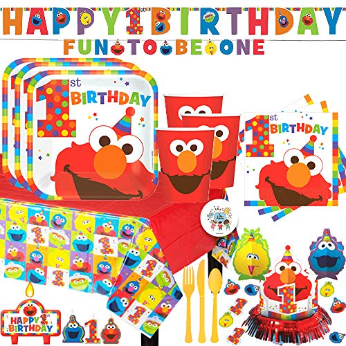 Mega Sesame Street's Elmo First Birthday Party Supplies Pack For 16 With Elmo Plates, Cups, Napkins, Tablecover, Cutlery, Birthday Banner, Table Decoration, and Pin