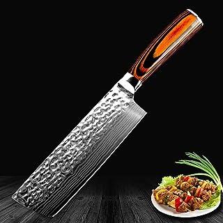 Ybqy Couteau de Chef Chinois Japonais Damas Laser Motif Main Couteau de Cuisine Couper la Viande Nakiri Gyuto Couteau de B...