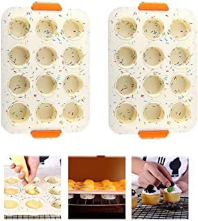 Beauenty Nonstick Cupcake Muffin Pan, BPA Free Food Grade Silicone Molds with 12 Silicone Baking Cups(2pcs) (White)