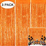 Tifeson 3PCS Orange Tinsel Foil Fringe Curtain Party Backdrop for Halloween Party Decorations, Fall Thanksgiving Decorations, Birthday Party Decorations (3.2 x 8.3 ft)