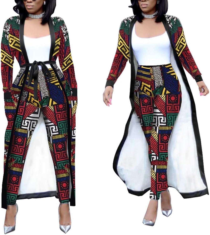 Womens 2 Piece Print Outfits Clubwear Long Sleeve Open Cardigan Pants Set Multicolor Size XXL