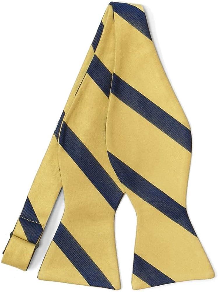 TieMart Regent Morris Neckwear Light Gold and Navy Blue Striped Cotton/Silk Self-Tie Bow Tie