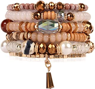 RIAH FASHION Bead Multi Layer Versatile Statement Bracelets - Stackable Beaded Strand Stretch...