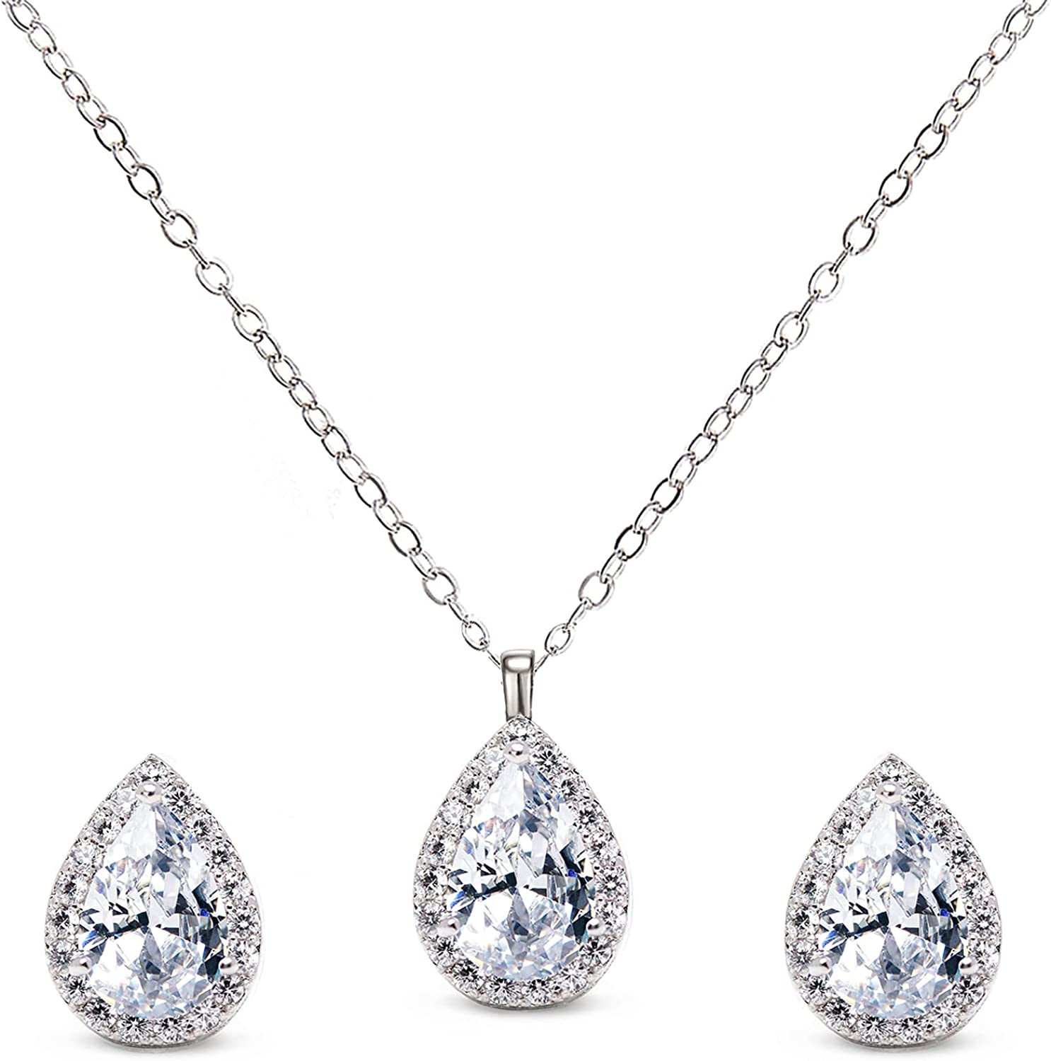 SWEETV Teardrop Wedding Jewelry Sets for Brides Bridesmaids, Cubic Zirconia Bridal Necklace Set, Teardrop Pendant Necklace Earrings Sets for Women Prom Jewelry Gifts