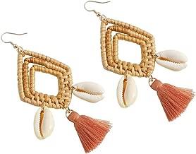 LayTmore Bohemian Style Earrings,Bohemian Rattan Handmade Tassel Shell Geometric Square Earrings Ladies Jewelry,Design for Women
