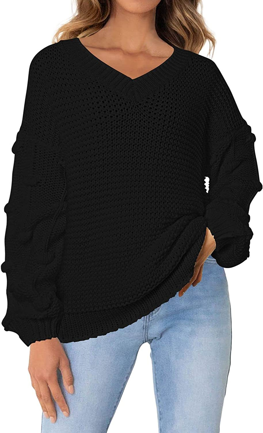 Selowin Women Discount mail order Super beauty product restock quality top! Knit Sweater V Neck Loose T Casual Chunky Pullover