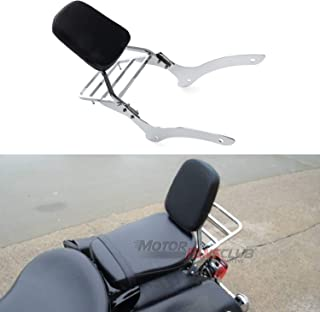 MotorFansClub Passenger Back Seat Cushion Backrest Sissy Bar Luggage Rear Rack Fit For Compatible With Yamaha V Star 650 400 Custom 96-2011 For Yamaha Drag Star 400 650 Custom 1997-2011 Black