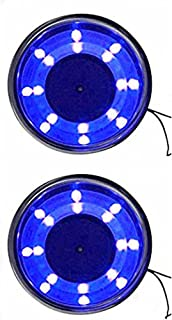 2 Pieces LED Stainless Steel Cup Drink Holder with Drain & LED Marine Boat Rv Camper (Blue)