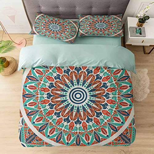 Soft Bedding Duvet Cover Set Twin, Floral Geometry Complex Design Medallion Middle Ages Symboli, 1 Duvet Cover with 2 Pillowcases-Hypoallergenic, Easy Care, Soft and Durable