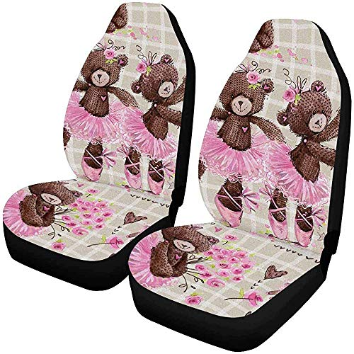 J.HAN Fundas De Asiento De Carro Conjunto De 2 Cute Teddy Bear Car Seat Covers,Vehicle Seat Protector Fit Most Car,Truck,SUV