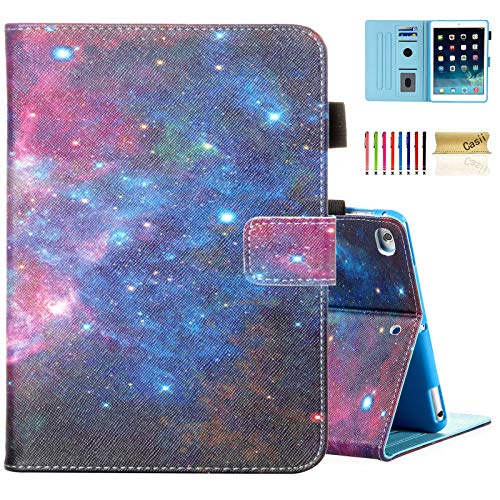 Casii Case for iPad 9.7 2018/2017, iPad Air 2/iPad Air, Synthetic Leather Folio Stand Smart Magnetic Cover with Auto Sleep Wake for iPad 5th/6th Generation [Corner Protection], Mysterious Space