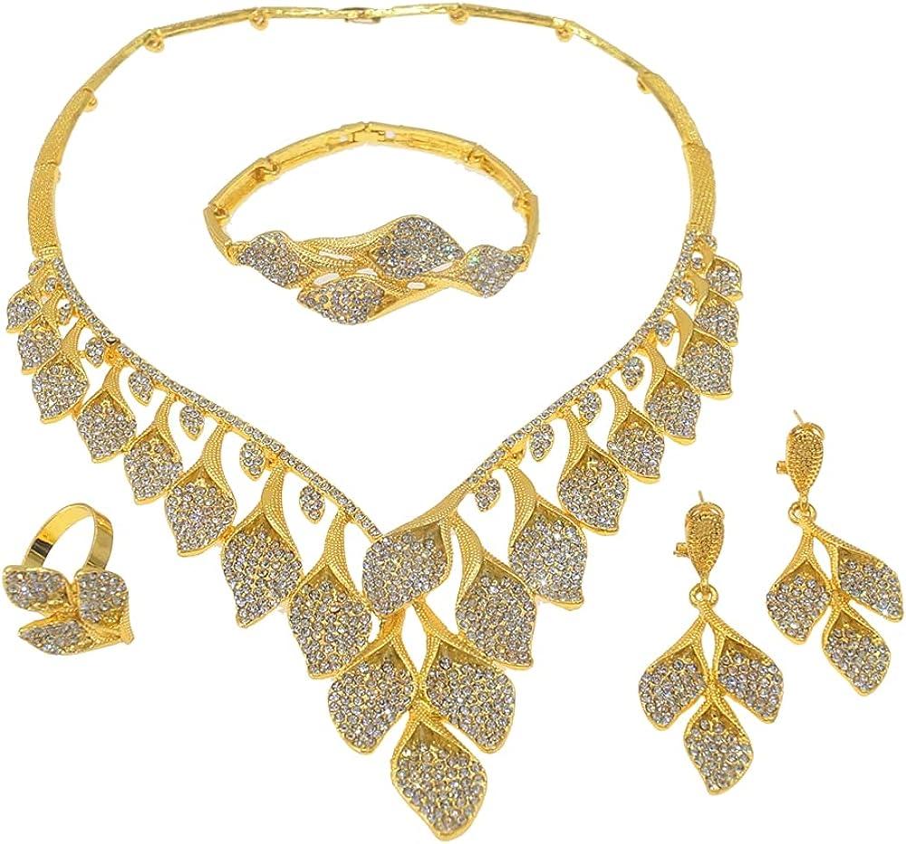 Yulaili Dubai Gold Jewelry Sets African Bridal Wedding Gifts Lady Saudi Arabia Necklace Bracelet Earrings Ring Jewelry Set