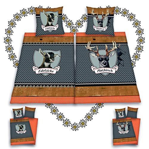 Platzhirsch & Edelzicke Partner Bettwäsche 4-teilig 80x80 + 135x200cm 100% Baumwolle mit Reißverschluss