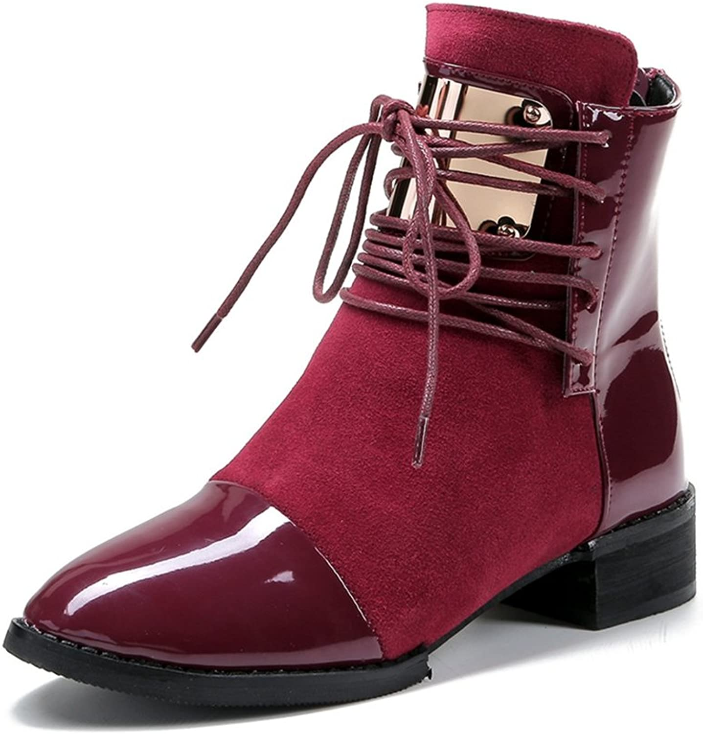 Btrada Women Winter Fur Lined Ankle Booties Mid Chunky Heel Sheet Metal Lace-up Fashion Short shoes