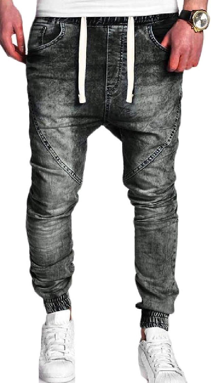7def77f53fe263 Lutratocro Mens Casual Sport Jogger Jogger Jogger Jeans Baggy Elastic Waist Washed  Denim Pants b4bead