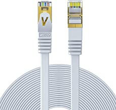 Cat7 Ethernet Cable,Veetop 15m/49ft Cat 7 Network Cable High Speed 10 Gigabit Internet Cord Flat Ethernet Wire with Shielded RJ45 Connectors for Computer Laptop Router Modem Switch Box