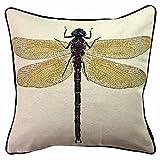 McAlister Textiles Bugs Life | Gefülltes Kissen für Sofa, Couch mit gesticktem Libellen-Motiv | 40...