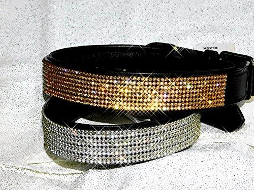 Halsband Funky Lederhalsband Glitzer Art Strass Breit M L XL Glitzerhalsband Tysons (XL, Schwarz Silberbarben)