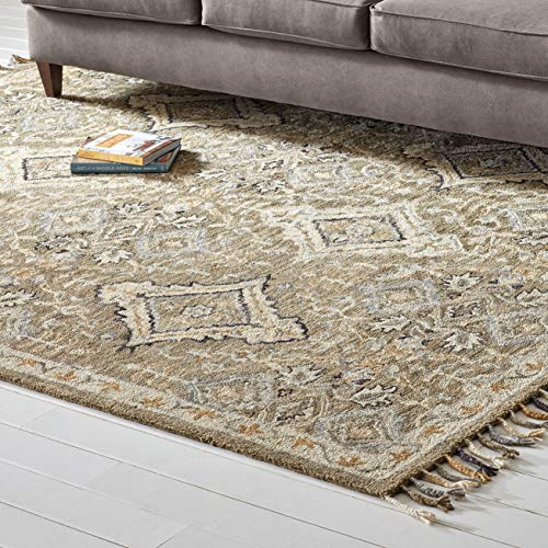 Amazon Brand – Stone & Beam Vero Medallion Wool Area Rug, 8 x 10 Foot, Neutral Multi