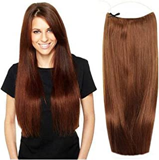 "Invisible Wire Secret Hidden Fish Line Hair Extensions 28cm Halo One Piece Straight Hairpieces Real Human Hair No Clips No Tapes 100g(20"" 350#)"