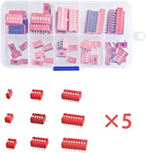 Xia Fly 45PCS/LOT Dip Switch Kit in Box 1 2 3 4 5 6 7 8 9Way 2.54mm Toggle Switch Red Snap Switches Mixed Kit Each 5PCS Combination Set