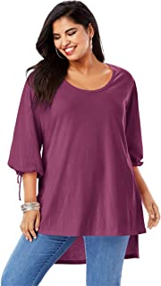 e88e9db2f1fd2 Roamans Women s Plus Size Tie-Sleeve Ultimate Tunic with High-Low Hem