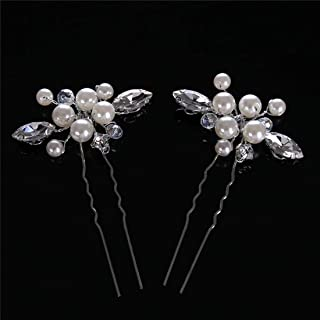 LUKEEXIN Bridal Tiara Pearl Bun Wedding Bridal Jewelry Accessories (Color : Silver)